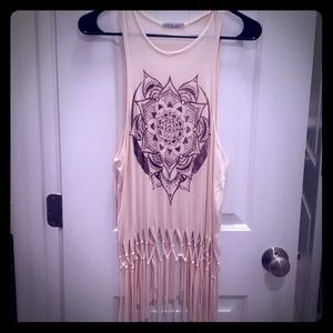 Peach color tan top with fringe bottom